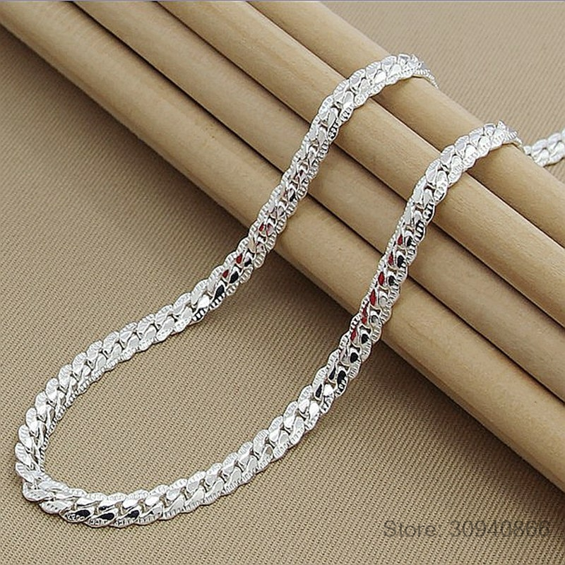 High Quality 6MM 50cm Full Sideways Necklace Women Men 925 Sterling Silver Fine Jewelry Link Chain Necklace