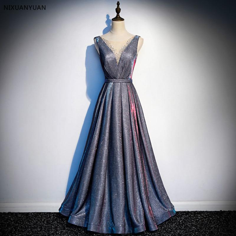 Sexy V neck Evening Dress Robe De Soiree 2019 High Quality Grey Tulle With Applique Evening Dresses Real Photo Vestido De Festa