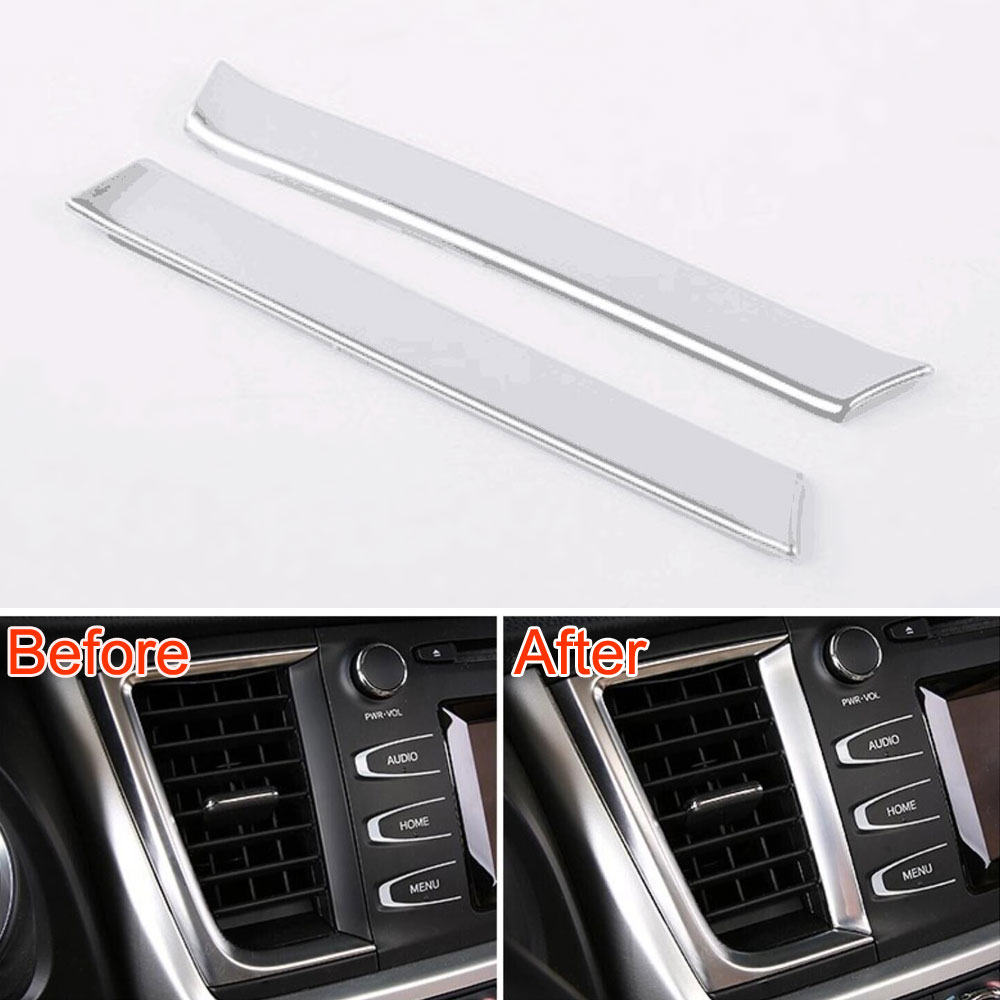 2Pcs Matt ABS Car Dashboard Central Console Air Vent Outlet Molding Trim Strip Cover Decoration For Toyota Highlander 2015
