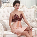 New Women Sexy Flower Sleepwear V-neck Lace Silk Sleepwear Dress Women Lounge Nightgowns Sleepshirts