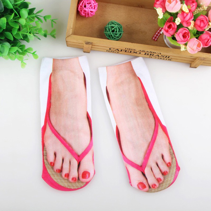3D Printed Flip Socks Foot Funny Socks Flops Camping Cute Socks Hiking Women Running Outdoor Comfortable Slippers