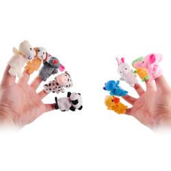 10 шт./партия, рождественские детские плюшевые игрушки/пальчиковые куклы/кукольный театр Реквизит (10 группа животных) куклы