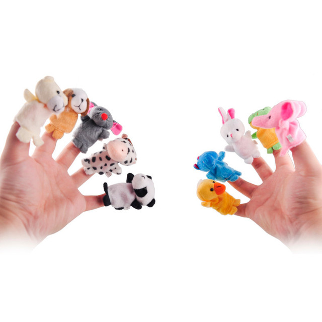10 pcs/lot,Christmas Baby Plush Toy/ Finger Puppets/Tell Story Props(10 animal group) Animal Doll /Kids Toys /Children Gift fing