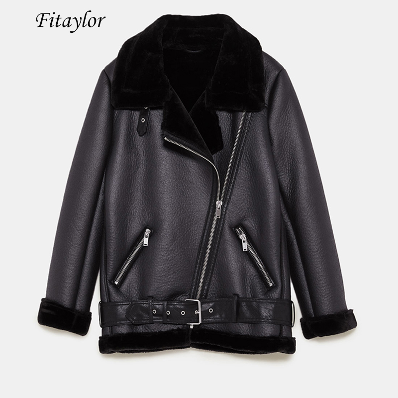 Fitaylor Women Winter Faux Lamb Leather Jacket Turndown Collar Warm Thick  Faux Leather Lambs Wool Fur Collar Suede Jacket Coats