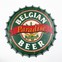 American retro beer cover pendant wrought iron decorative wall decoration hanging metal painting crafts