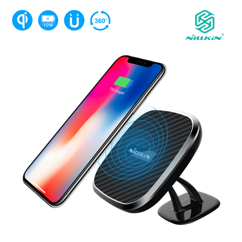 NILLKIN 10W Fast Qi Car wireless charger adjustable Phone Holder wireless Charging Pad For iPhone X/8/8+ For Samsung S9/S9 Plus