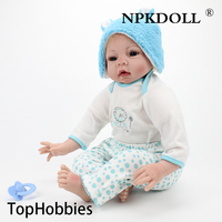 Growth Partner Handmade Play House 55CM 22 Inch Silicone Reborn Babies Dolls Soft Cloth Body Lifelike Newborn Doll Toys For Boys