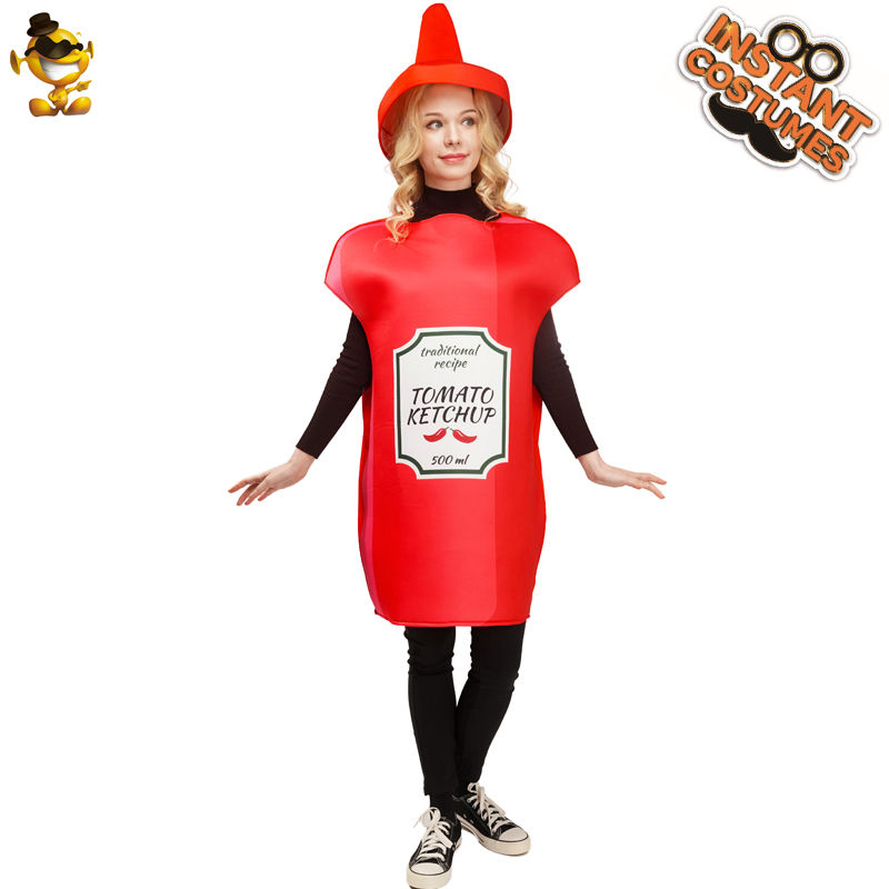 Women Ketchup Costumes Unisex Adults Funny Food Ketchup Cosplay Fancy Jumpsuit