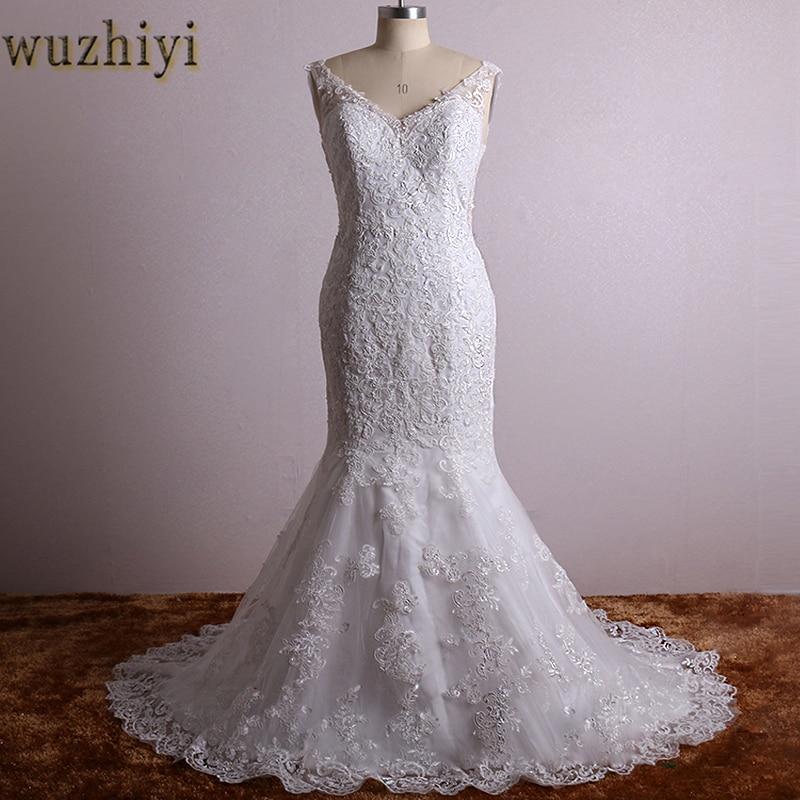 wuzhiy Mermaid wedding dresses new robe mariage lace wedding dress Vintage vestido de noiva plus size robe de mariage 2018 China
