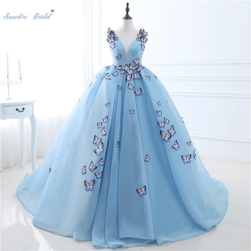 Sapphire Bridal 2019 Lace up Butterfly Applique Quinceanera Dresses Vestidos De Debutantes V neck Floor length