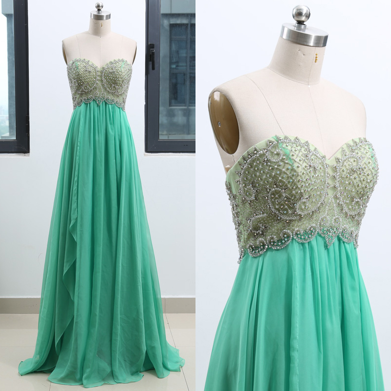 MACloth Mint A-Line Strapless Floor-Length Long Crystal Chiffon   Prom     Dresses     Dress   S 262516 Clearance