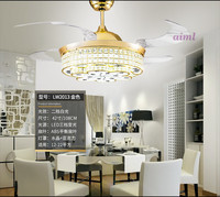 3 color dimming contro k9 crystal LED ceiling fan lamp simple household bedroom living room 85 240V