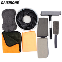 Car Cleaning And Drying Set Include Foldable Bucket Microfiber Wash Brush Drying Detailing Towel Waxing Towel Chenille Sponge