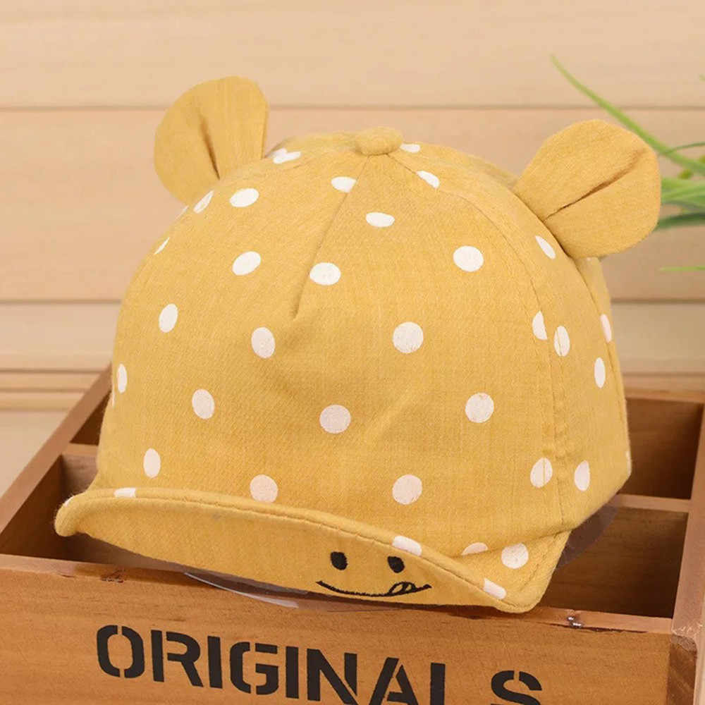 Śliczne czapki dla dzieci 2020 letnie dziecko chłopcy dziewczęta dzieci Polka Dot szczyt kapelusz uśmiechnięta twarz rozkloszowana spódnica czapka z daszkiem Sunhat dla 1-3Y czapka dziecięca