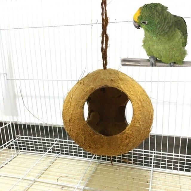Us 5 5 16 Off Coconut Husk Nest For Parrots Hamster Lizard Aquarium Animals 3 Hole Natural Coconut Shell Birds Feeder Dispenser Food Feeding In Bird
