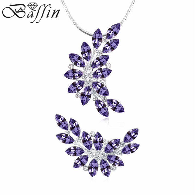 High quality Jewelry Sets leaf pendant Necklace Brooch Made With SWAROVSKI Elements Crystals from SWAROVSKI Elements baffin crystals pave jewelry sets round pendant necklace maxi rings luxury accessories for women made with swarovski elements