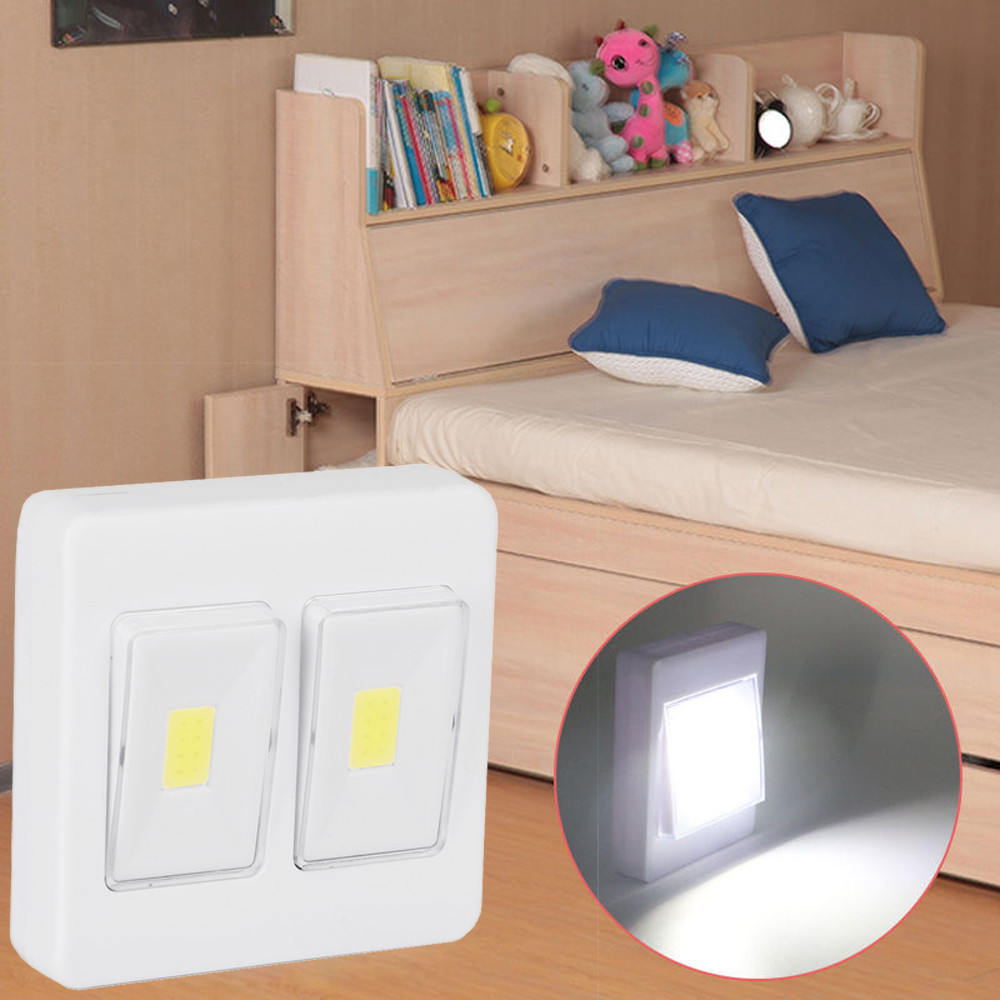 3W COB LED Wall Switch Wireless Closet Cordless Night Light Battery Operated Cabinet IR Infrared Motion Detector Wall Lamp