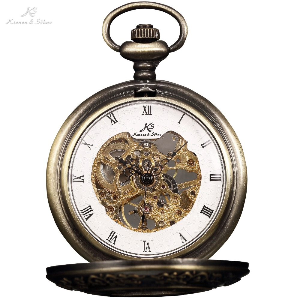 Retro KS Self Winding Mechanical Skeleton Alloy Case Copper Key Style Pendant Roman Dial Luxury Jewelry Men Pocket Watch /KSP043 цена и фото