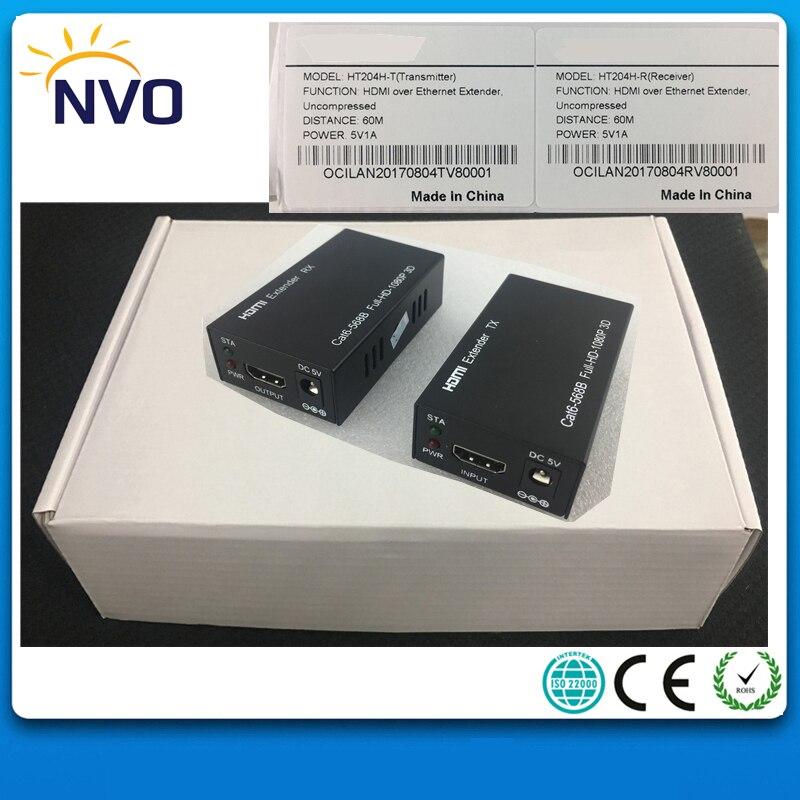 Extension HDMI non compressée de 60 M, récepteur émetteur d'extension HDMI 1080 p sur une seule prise EU de convertisseur Ethernet RJ45 Cat 5e/6