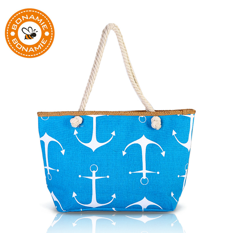 BONAMIE Women Large Capacity Tote Beach Bag Hemp Rope Straw Weave Printed Anchor Canvas Shoulder Bag Summer Big Shopping Bag