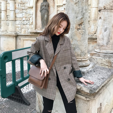 Image 3 - Vintage Double Breasted Office Ladies Plaid Blazer Long Sleeve Loose  Retro Suits Coat Jacket Women blazers Female 2019-in Blazers from Women's Clothing
