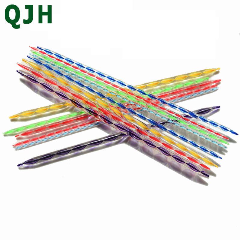 QJH 2pcs Knitting Wool Tools 35cm Double Pointed Knitting Needles Plastic Knitting Needles Acrylic Crystal Needles Acrylic Yarn