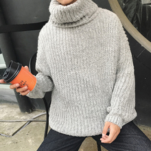 Sweater Men 2018 Winter New Fashion Loose Large Size Fashion High Collar Pullover Man Gray Blue Casual Male Clothes