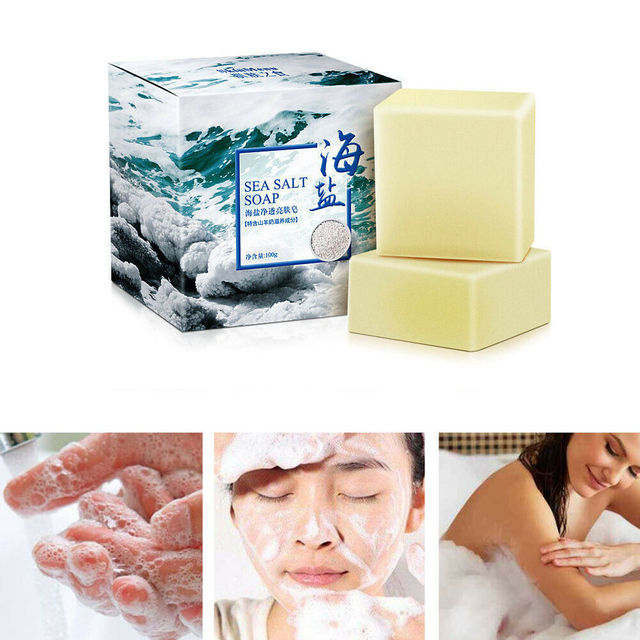 Sea Salt Ba Anti Fungus Skin Bath Body Whitening Lightening Acne Treatment Soap Acne Treatment Pimple Clean 100g 1