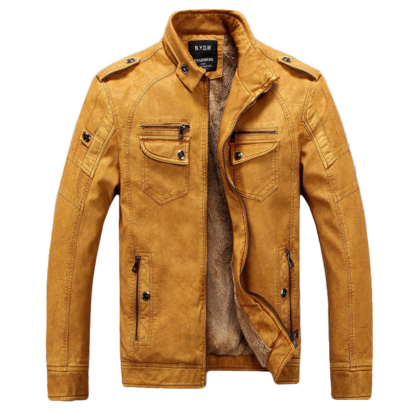 Male Motorcycle Fashion Leather Jacket Men Winter Pilot