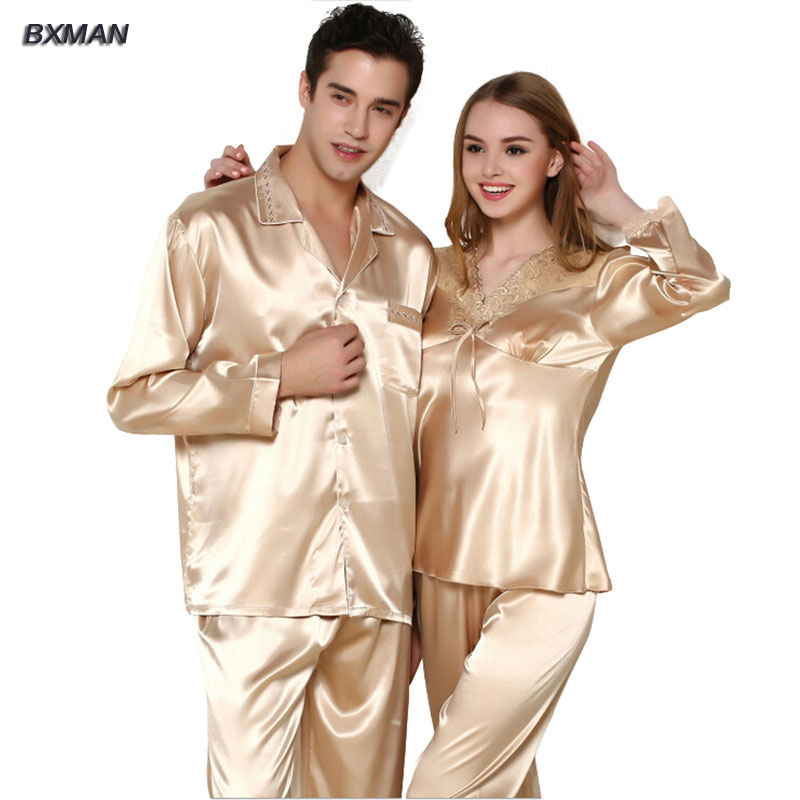 BXMAN Brand Mens Pajamas Hombre Mens Satin Pajamas Rayon Solid Button Turn-down Collar F ...