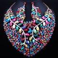 Perlas africanas Joyería Grande Collar de Cristal Pendientes para Las Mujeres Wedding Prom Moda Indio De Joyería Nupcial