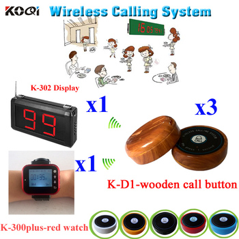 Pager Calling System Restaurant Order Device Electronics Long Distance Transmitter Pager Set (1 display+ 1 watch +3 call