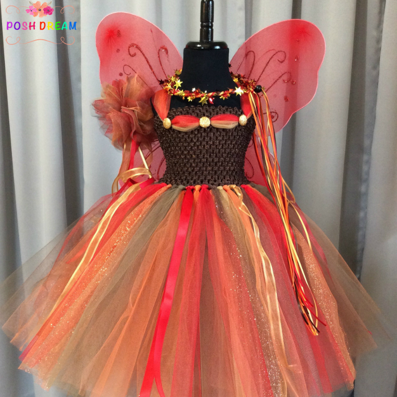 POSH DREAM Fall Fairy Cosplay Girls Tutu Dress Matching Wand Wings Birthday Outfit Fairy Costume Orange Children Kids ClothesPOSH DREAM Fall Fairy Cosplay Girls Tutu Dress Matching Wand Wings Birthday Outfit Fairy Costume Orange Children Kids Clothes