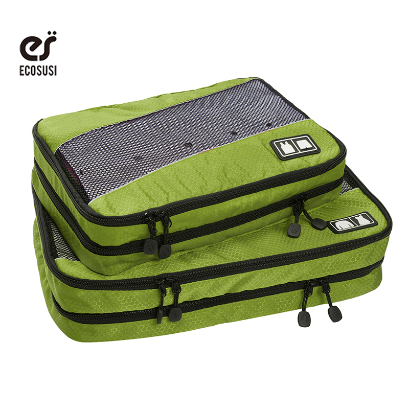 ecosusi Water-resistance Travel Accessories Packing Cubes 2PCS Luggage Dress T shirts Storage Bags with Double Compartments