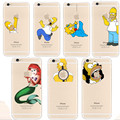 Soft Cover for iPhone 6s Homer Simpsons Mermaid Snow White Transparent Clear Capa For iPhone Phone Cover for iPhone 5 5s 6s Case