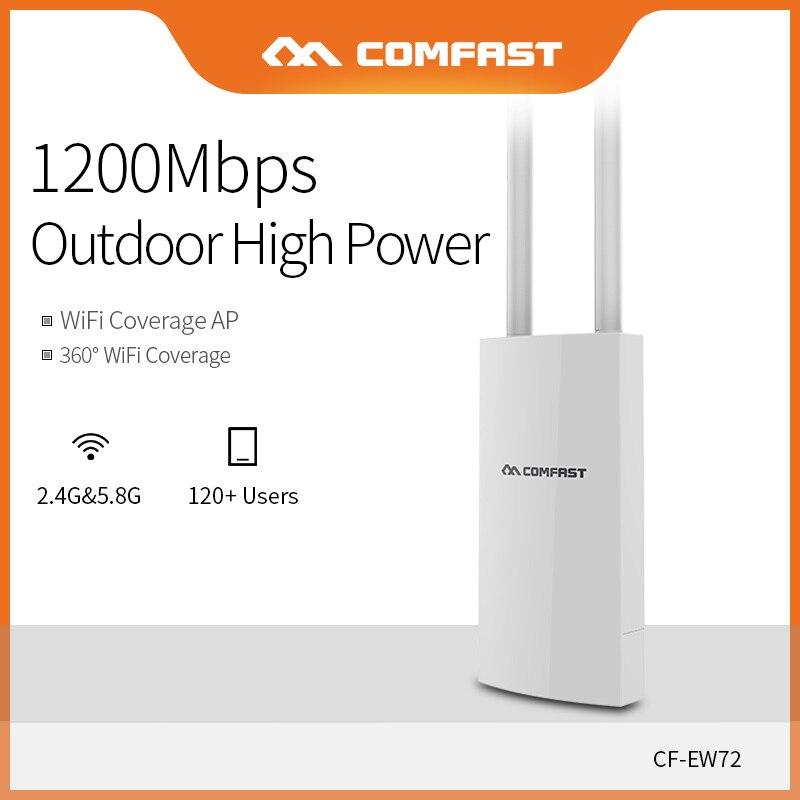 Comfast double bande 5 Ghz haute puissance extérieure AP 1200 Mbps 360 degrés couverture omnidirectionnelle Point d'accès Wifi Base Station CF-EW72