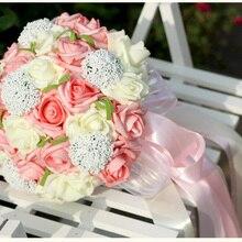 36 шт., красивый свадебный букет с розами, все ручной работы, свадебный букет, искусственный букет, 4 цвета