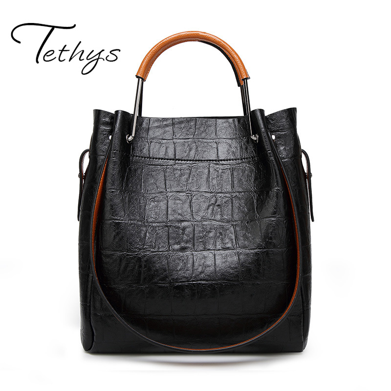 2017 New Arrive TETHYS Brand Casual Tote Leather Female Bags Luxury Handbags Wom
