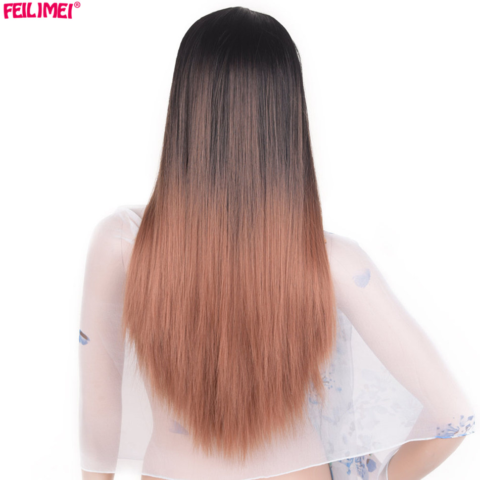 Feilimei Middle Part Synthetic Ombre Purple Blue Gray Wig 24Inch 60cm 280g Long Straight Femals Full Head Wigs For Women Hair