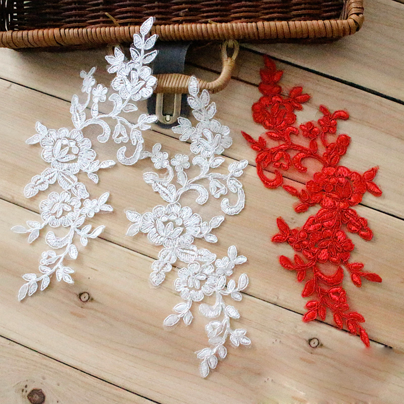 10Pieces Corded Embroidery Lace Applique font b Wedding b font Dresses DIY Motif Embroidered Lace Accessories
