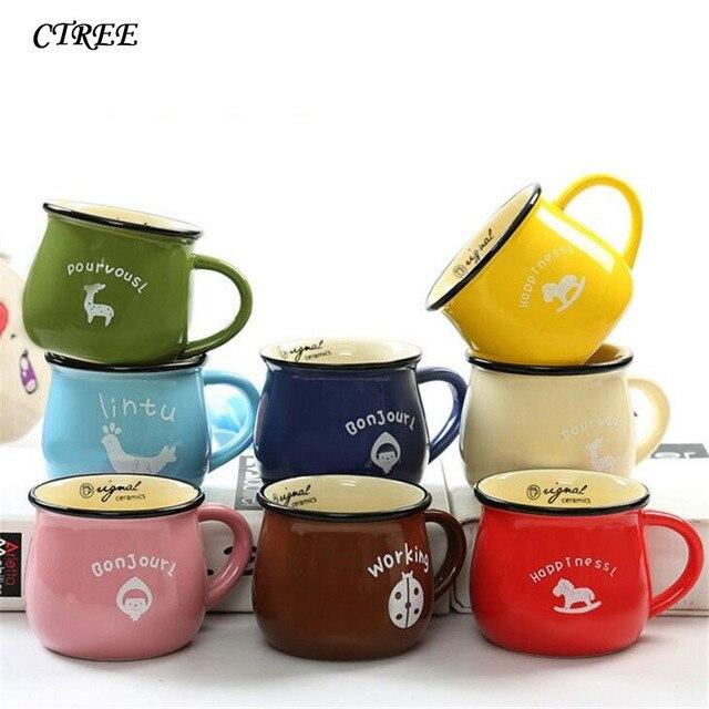 b06ff470c50 CTREE 1Pcs Creative Candy Color Vintage Creative Ceramic Mug Simple  Breakfast Milk Cups Coffee Mugs Tea Cup 150/250/380ml C236