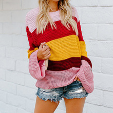 2019 cute color block lantern sleeve woman sweater spring and autumn pullover striped o-neck casual loose knit female
