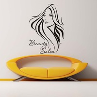 Removable Vinyl Wall Stickers Barbershop Long Hair Woman Wall Decals Beauty Hairdressing Salon Art Decals Posters Home Decor