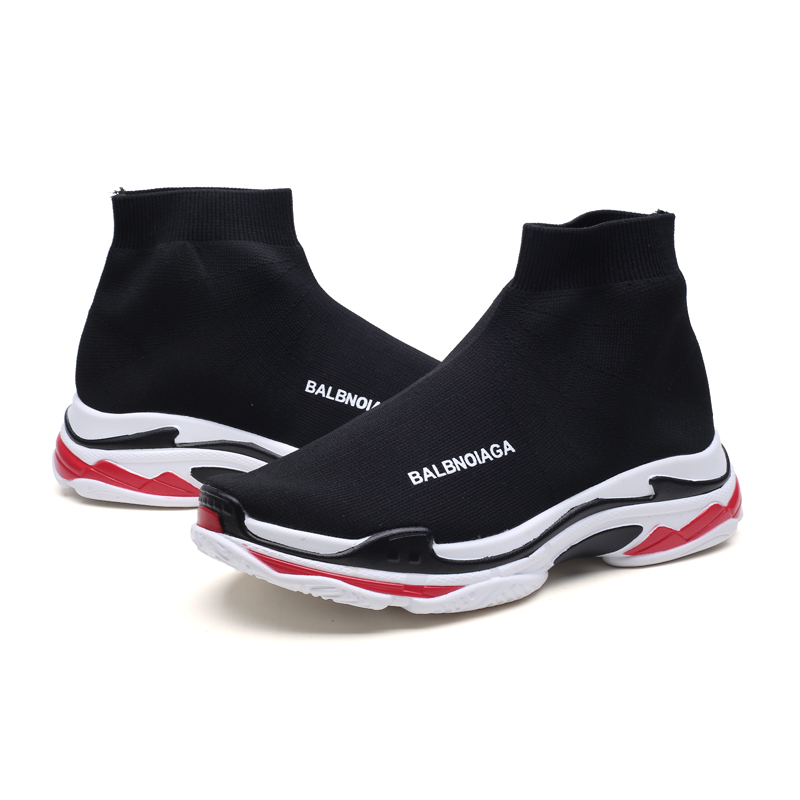 Lightweight High Top Sneakers Men Women Breathable Flying Socks boots Triple S Dad Shoes Sole Sports Stretch Flat Running Shoes