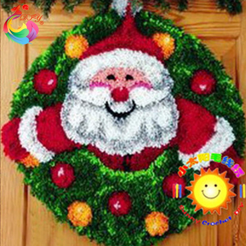 Kit tapete gancho DIY Needlework Define inacabado Crocheting Tapete Mat Trava gancho Kit Rug Vine Picture Carpet Set decoração de Natal