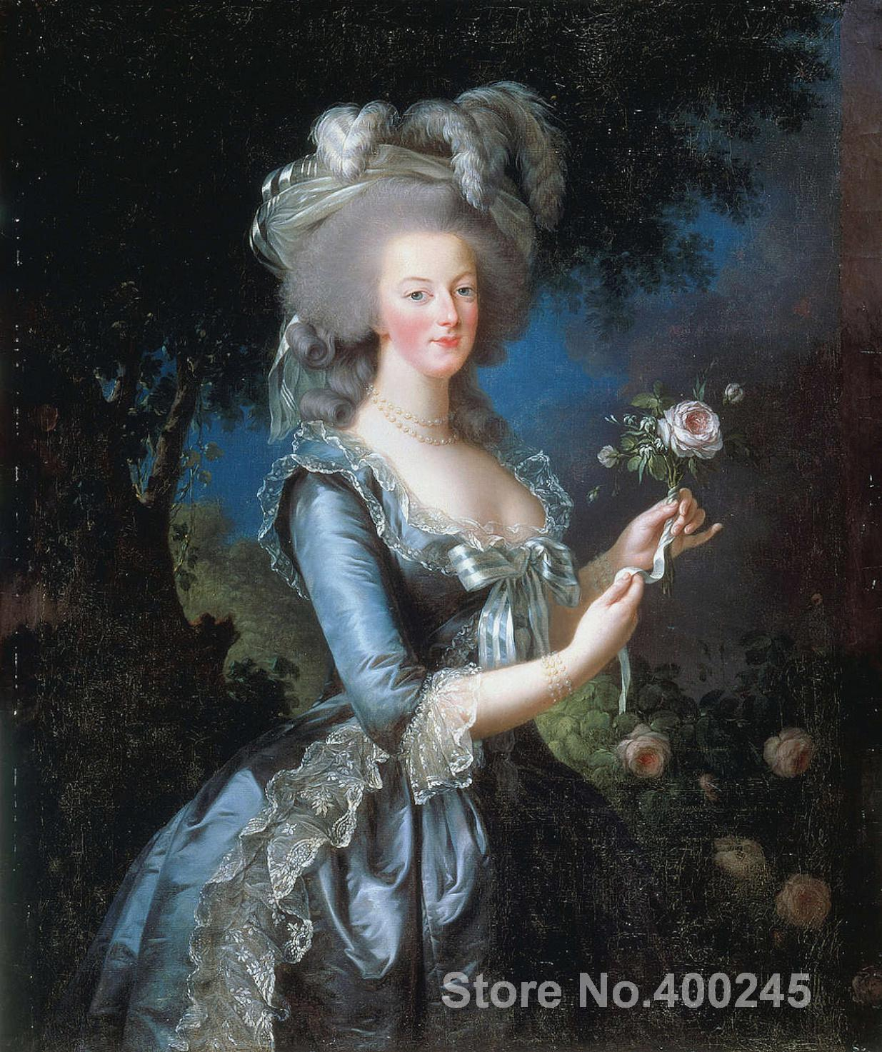 Beautiful woman Portrait painting Marie Antoinette with the Rose by Elisabeth Vigee Lebrun High quality Handmade Wall decorBeautiful woman Portrait painting Marie Antoinette with the Rose by Elisabeth Vigee Lebrun High quality Handmade Wall decor