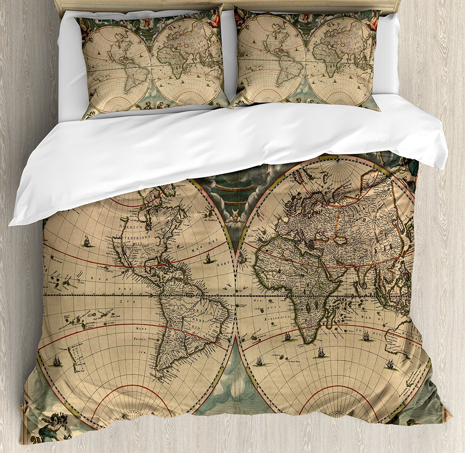 vintage duvet cover set dated old map of ancient world historic geography theme antique grungy design print 4 piece bedding set in bedding sets from home
