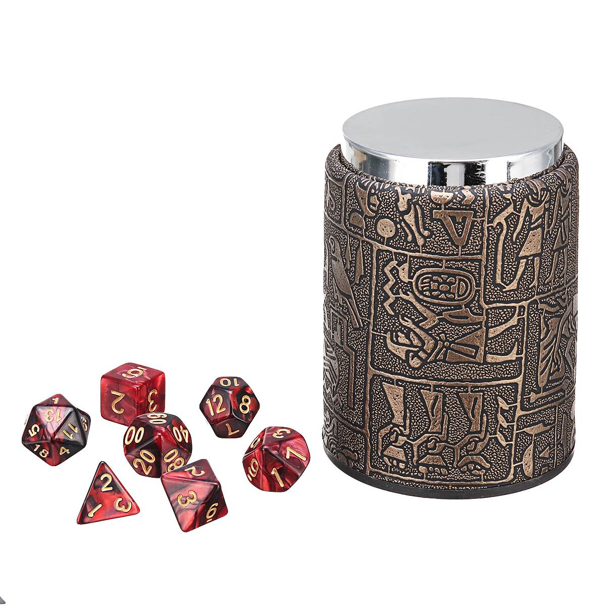 7 Pcs Polyhedral Dices + Dice Cup For Dungeons and Dragons DND RPG MTG Desk Game Durble Quality acrylic polyhedral dice for board game translucent light blue 5 pcs