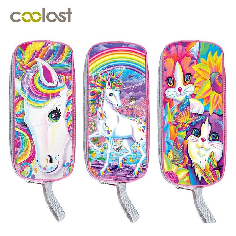все цены на Pink Unicorn Cosmetic Case Children School Supplies Fairy Tale Pencil Holder Boys Girls Case Cartoon Stationery Bag Kids Gift