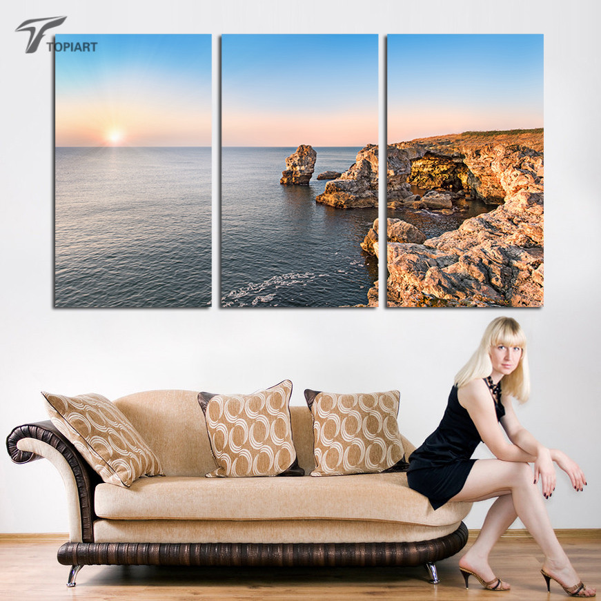 Beau Home Decor Picture Triptych Ocean View Sunrise Wall Art Large Pictures  Seashore Reefs Home Decor Painting Living Room No Frame In Painting U0026  Calligraphy ...